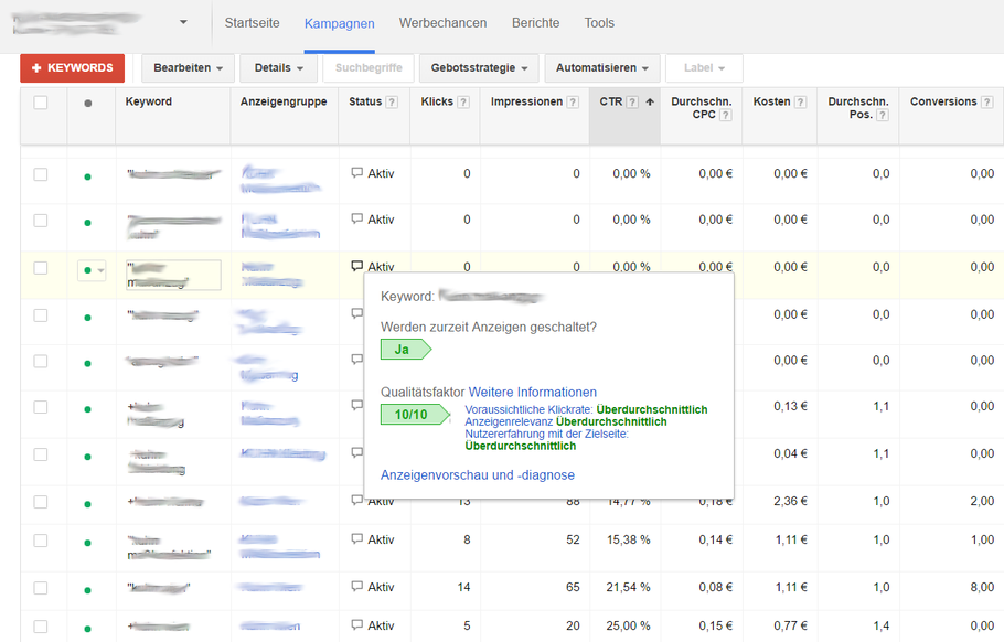 Darstellung des Qualitätsfaktors in der klassischen Google AdWords Ansicht
