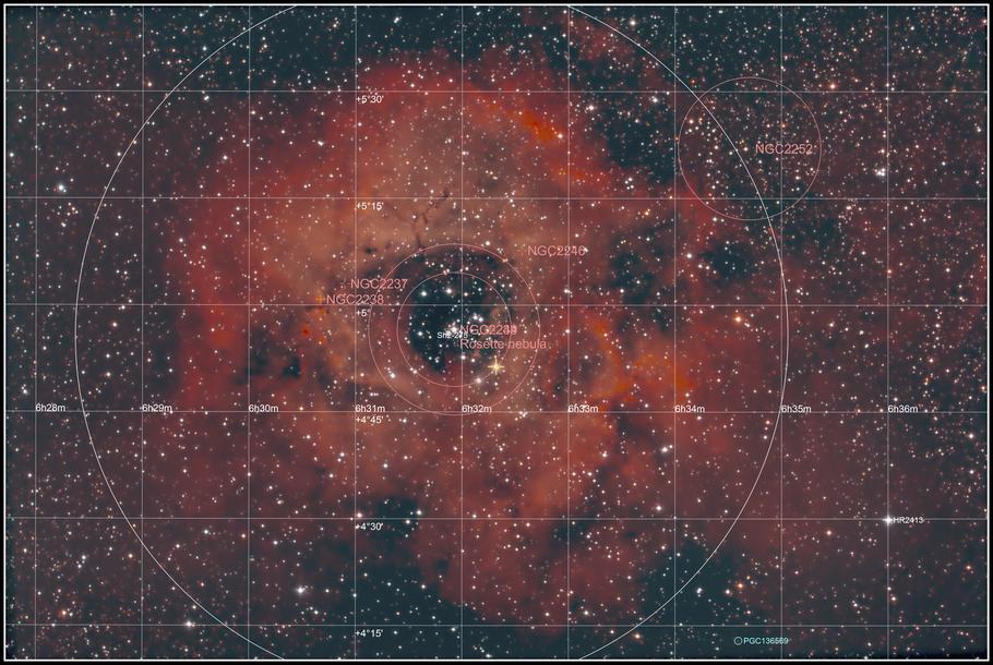 NGC 2237 • NGC 2238 • NGC 2239 • NGC 2244 • NGC 2246 • Rosettennebel- Objektidentifikation - MeixnerObservatorium