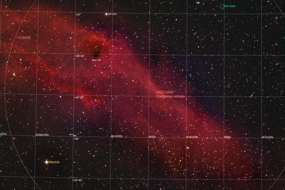 NGC 1499 - Kalifornien-Nebel - California-Nebula - Objektidentifikation MeixnerObservatorium