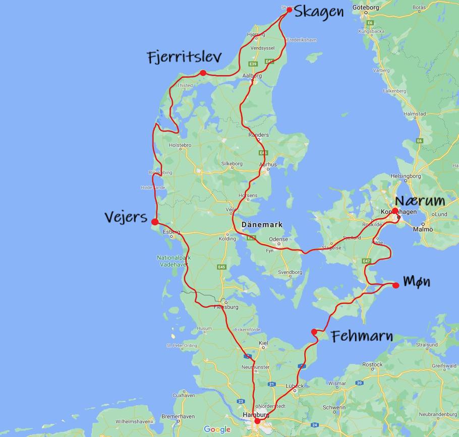 Bulli Roadtrip Dänemark Route