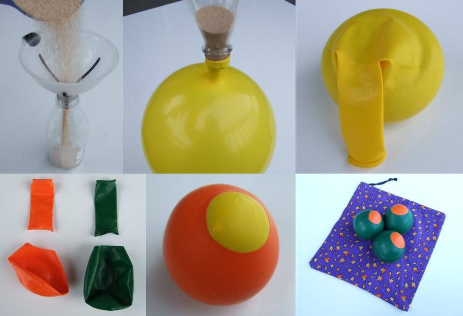 Anleitung um Jonglierbälle mit Ballons und Hirse, Reis und Salz selber herzustellen
