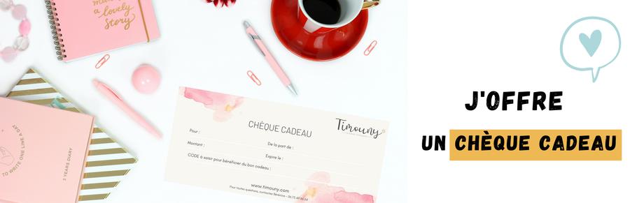 Cette image montre un chèque cadeau à utiliser sur le site Timouny