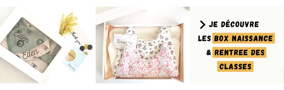 cette image représente une box naissance personnalisée et une box rentrée des classes