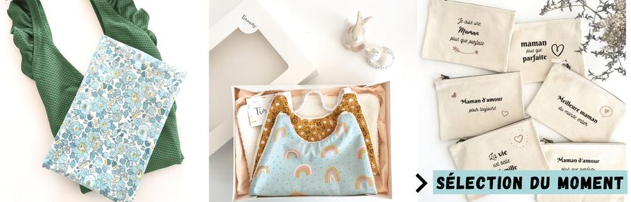 cette image représente une sélection de cadeaux : pochon imperméables et pochettes personnalisées et box rentrée des classes