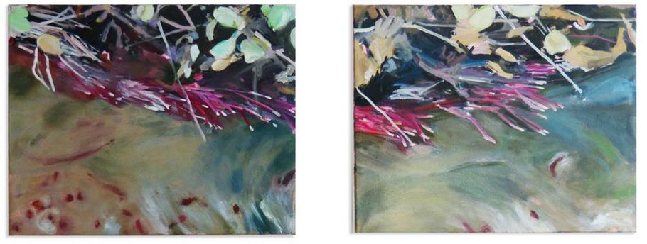 nach dem Erdrutsch 2014 40 x 100 cm Öl / Leinwand Diptychion