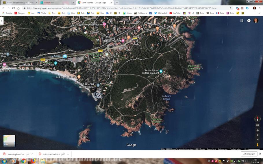 Screenshot mit den Wegen am Cap Dramont.