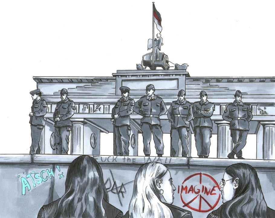 Bild aus der Graphic Novel Todesstreifen, 30 Jahre Mauerfall-Brandenburger Tor am 10.Nov.'89