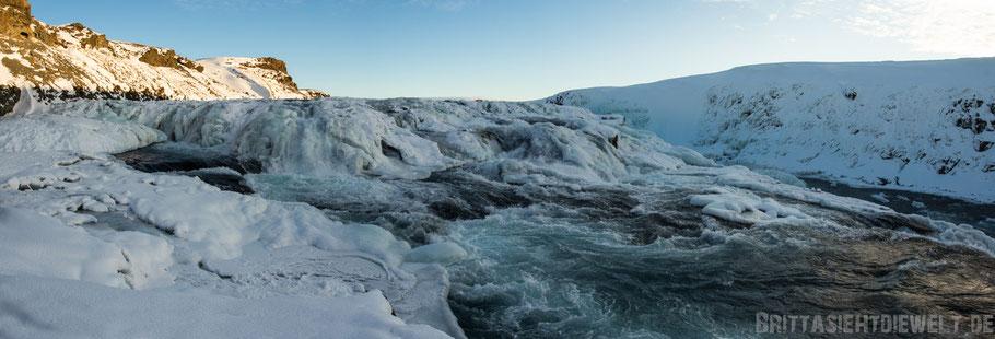 Gullfoss,Wasserfall,Golden,circle,winter,Tipps,Island,selber,fahren,Panorama.