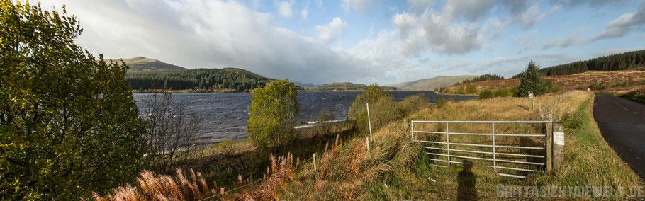 Loch,Lomond,Carron,valley,reservoir,see,schottland,herbst,oktober.