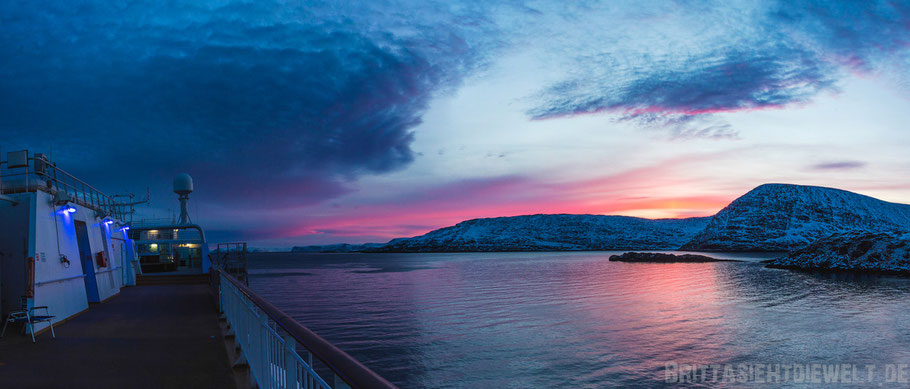 Havøysund,Sonnenaufgang,Panorama,Norwegen,Hurtigruten,ms,Midnatsol, Postschiff,Winter,November,Tipps