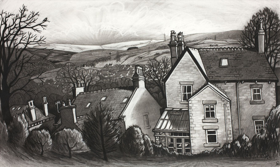 Clare Allan, New Mills, charcoal, drawing
