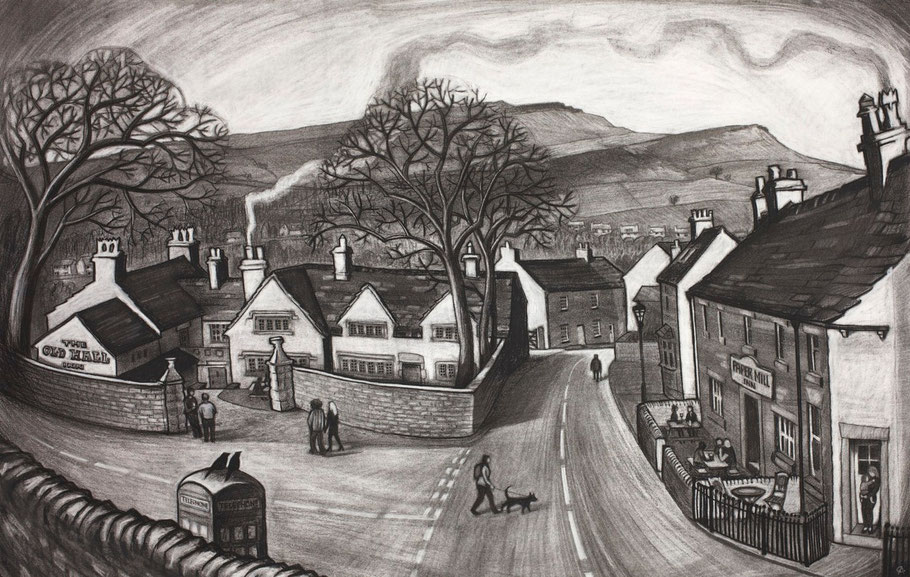 Clare Allan, Old Hall, Chinley, charcoal