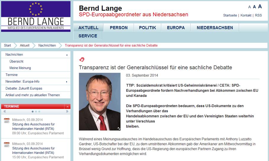 Bernd Lange, SPD-Europaabgeordneter und Vorsitzender des Ausschusses für internationalen Handel im Europäischen Parlament