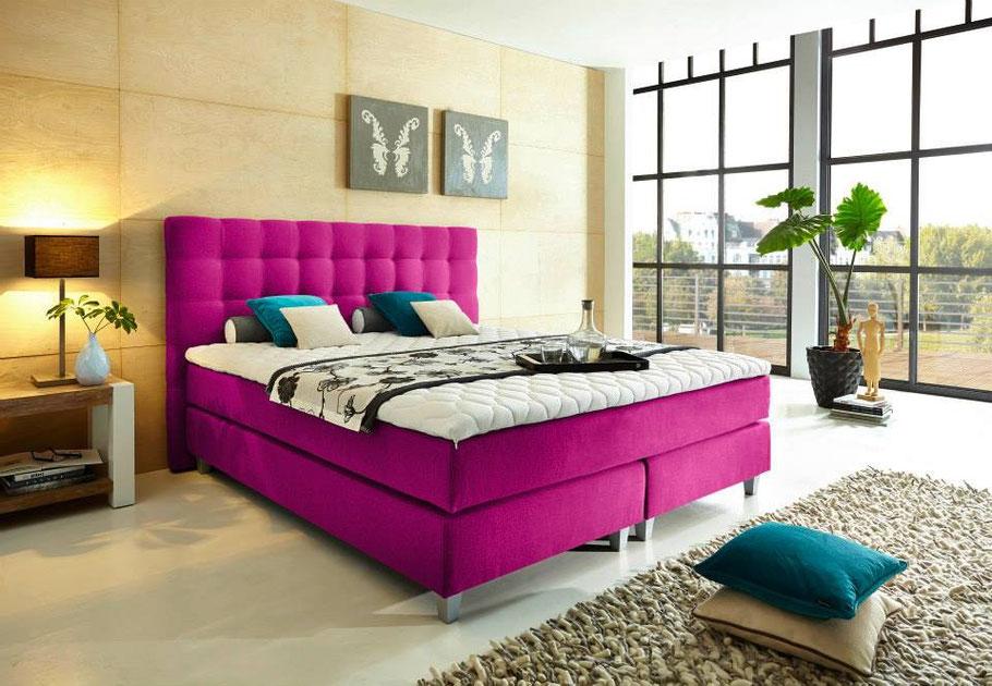 Boxspringbett Welcon Rockstar 140x200, 140x210, 160x200, 160x210, 180x200, 180x210, 200x200, 200x210, 210x200 und 210x210 H1 H2 H3 H4 H5 rosa pink