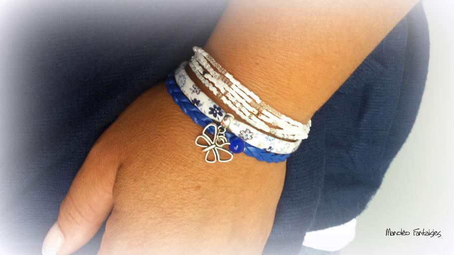 Bracelet mini manchette PAPILLON bleu, liberty et argenté tendance bohème