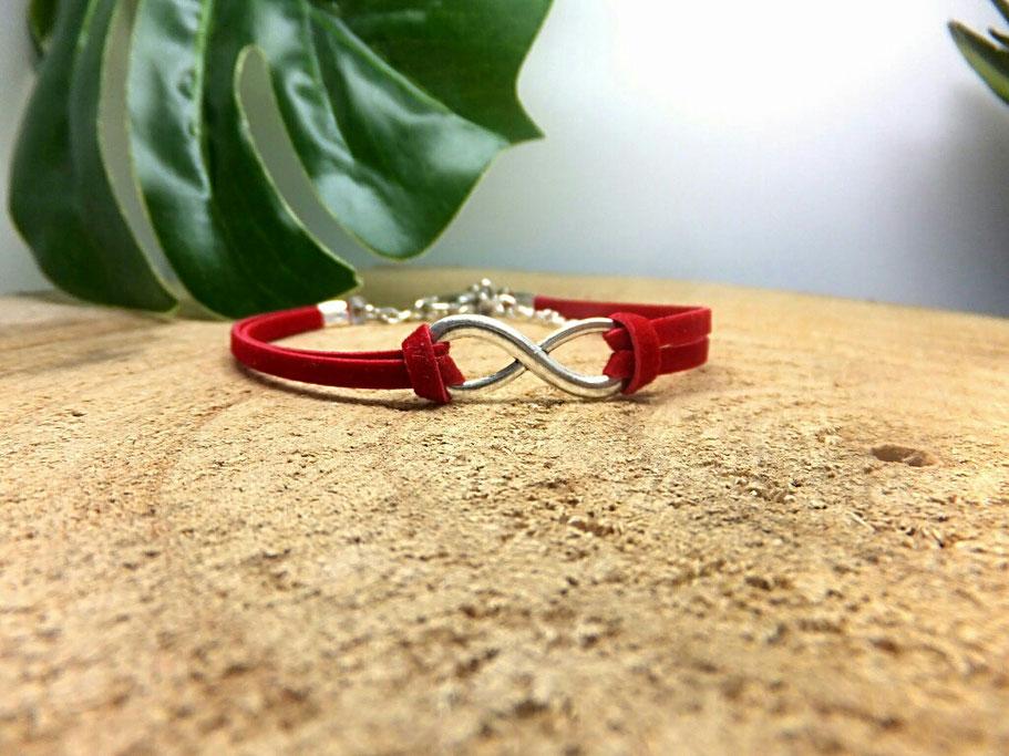 bracelet infini, bracelet rouge, bracelet femme, idée cadeau, amour éternel, fait main