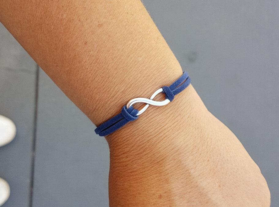 INFINI bracelet fin, bracelet bleu, bracelet mixte, bracelet fait main