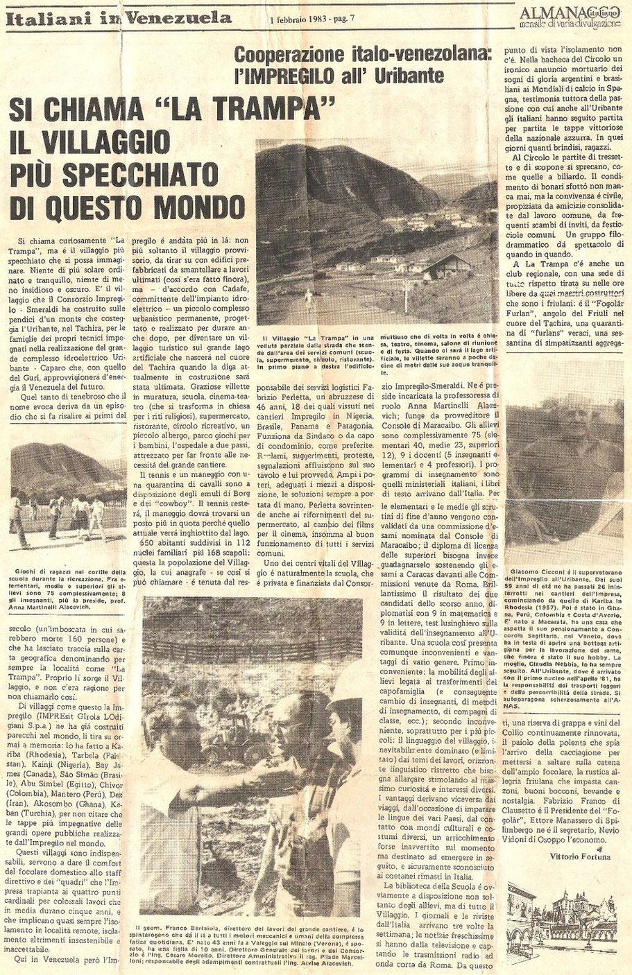 Articolo sulla TRAMPA del 01.02.1983