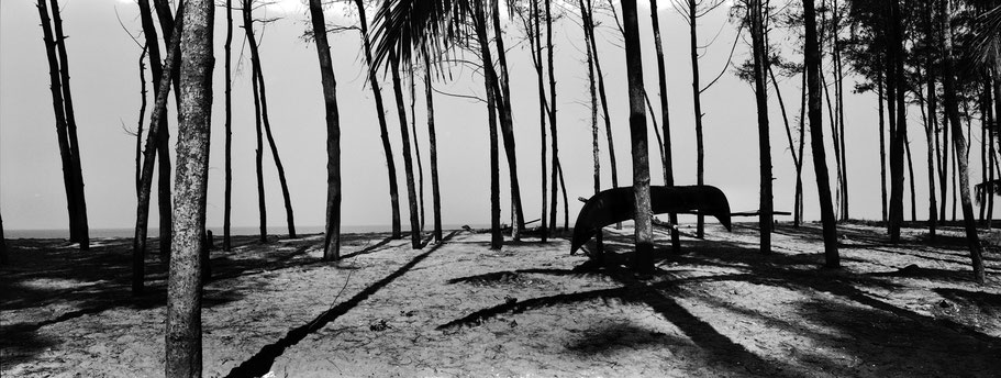 Am Vypin Is Ambekar Beachs auf Vypin Island , Indien, in schwarz-weiß als Panorama-Photographie