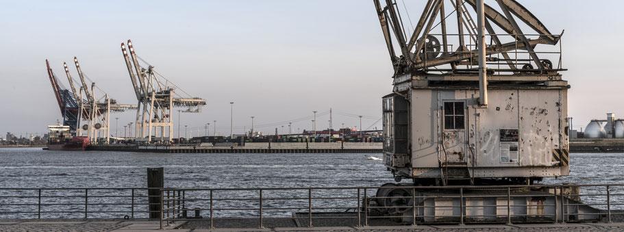 Abendaufnahme des bekannten Hafenkrans an der Norderelbe in Hamburg als Farbphoto im Panorama-Format.