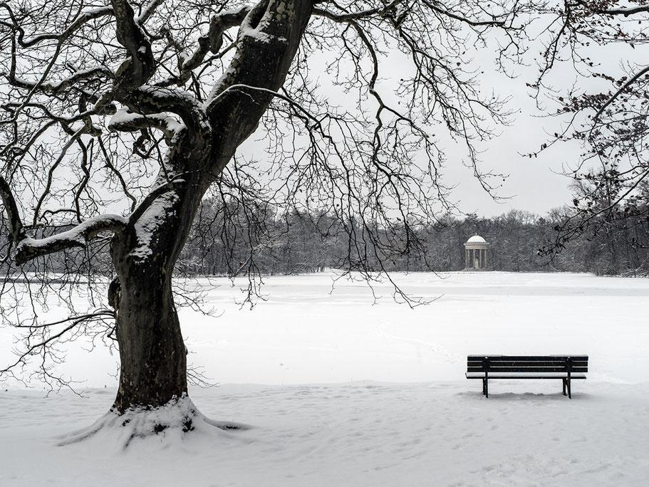 Badenburgersee im Nymphenburger Park als Farb-Photographie, Muenchen