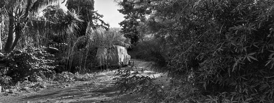 Oldtimer Ford Transit  bei Kardamyli auf dem Peloponnes, Griechenland, als Schwarzweißphoto im Panorama-Format