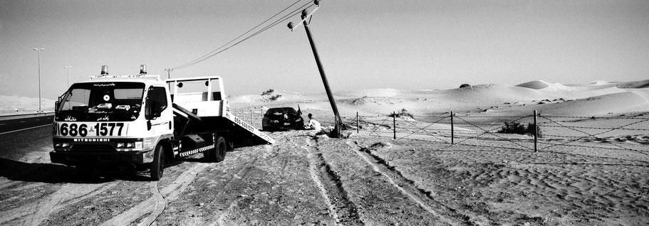 Verkehrsunfall auf der Straße nach Hatta als Panorama-Photographie