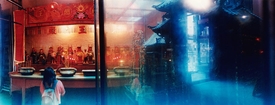 Tempel in Hongkong, China, als Farbphoto im Panorama-Format