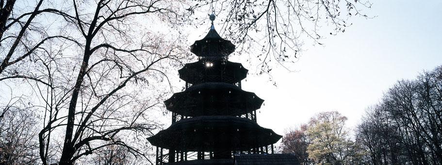 Chinesischer Turm in color als Panorama-Photographie, München