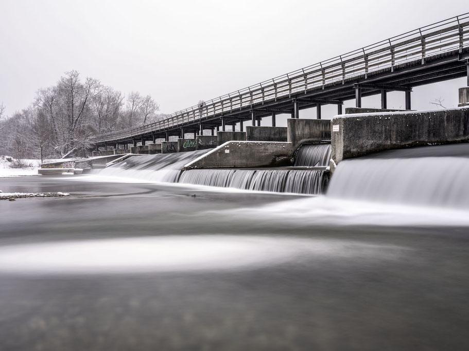 Flaucher Winter 2021  mit Schnee als Farb-Photographie, Muenchen