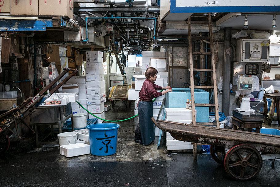Tsukiji Fish-Market in Tokyo, Japan als Farbphoto