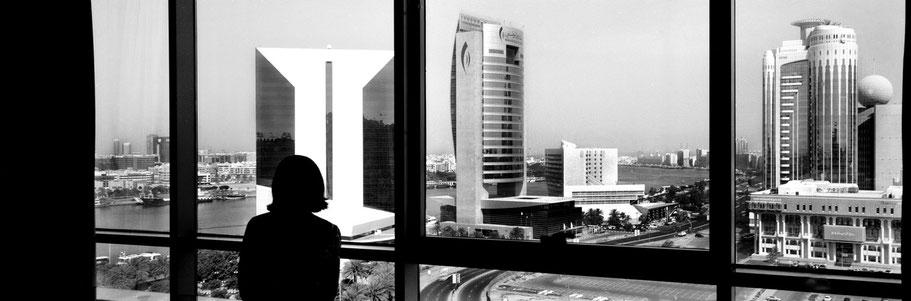 Blick aus dem Hotel Hilton Creek in Dubai als Panorama-Photographie