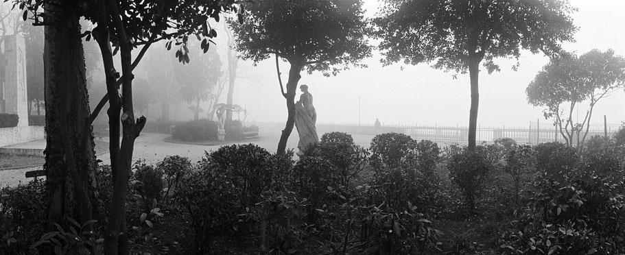 Nebelstimmung im Giardini Pubblici , Venedig, als Schwarzweißphoto im Panorama-Format
