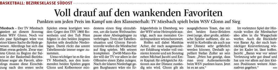 Artikel im Miesbacher Merkur am 09.12.2017 - Zum Vergrößern klicken