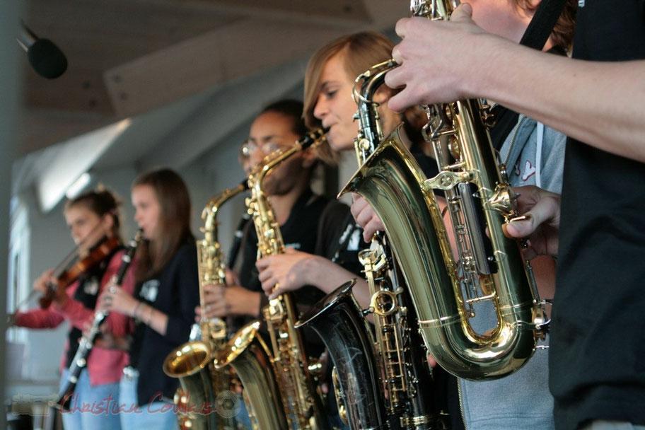 Ligne de cuivre du Big Band Jazz du Collège Eléonore de Provence, Monségur, promotion 2011. Festival JAZZ360 2011, Cénac. 01/06/2011