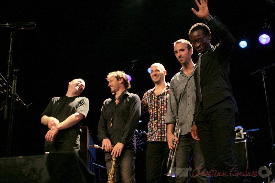 Jean-Yves Jung, Frédéric Borey, Mauro Gargano, Sylvain Gontard, Roger 'Kemp' Biwandu; Roger Biwandu Quintet, Festival JAZZ360 2011, Cénac 03/06/2011