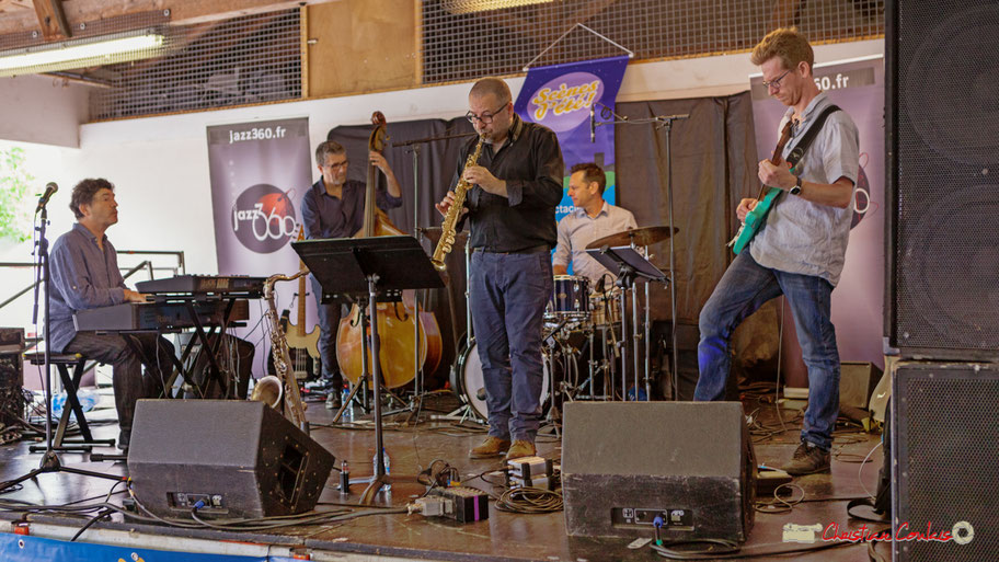 Serge Moulinier Quintet :  Serge Moulinier, Christophe Jodet, Alain Coyral, Didier Ottaviani, Christophe Maroye. Festival JAZZ360 2018, Camblanes-et-Meynac. 09/06/2018