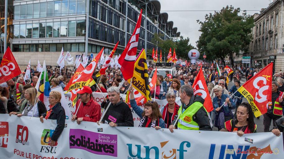 Première manifestation de rentrée contre la réforme du Code du Travail, par ordonnance. Bordeaux, 12 septembre 2017