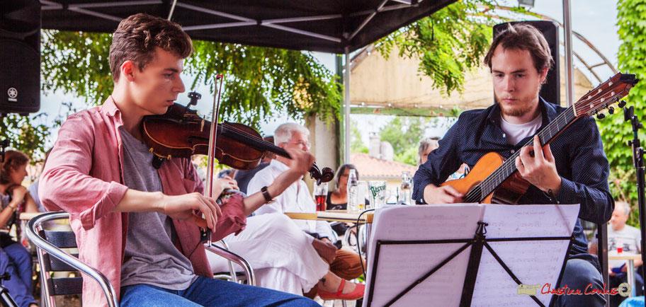 Duo2 Source : Pierre Meunier, Nicolas Allard. Festival JAZZ360 2018, restaurant les Acacias, Cénac. Samedi 9 juin 2018