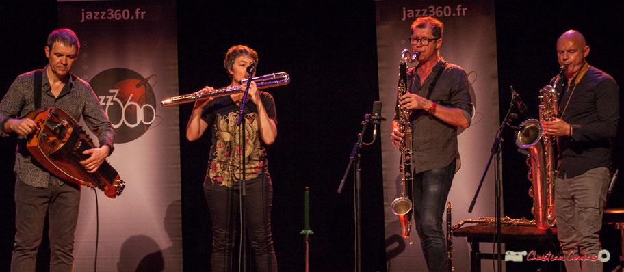 Clax Quartet : Gilles Chabenat, Anne Colas, Fred Pouget, Guillaume Schmidt. Festival JAZZ360 2018, Cénac. Samedi 9 juin 2018