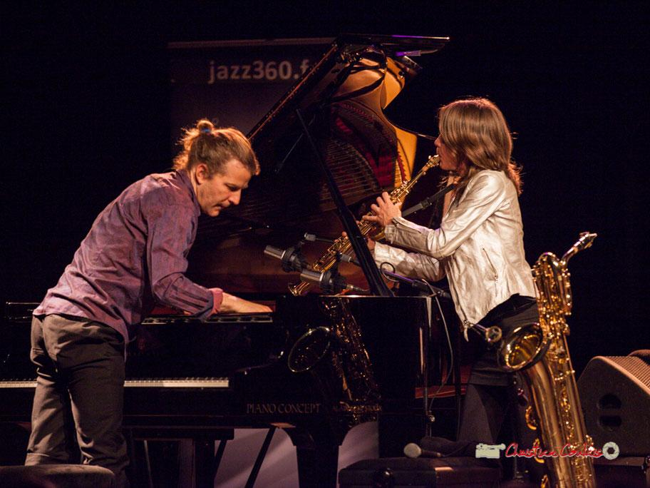 Festival JAZZ360 2019; Céline Bonacina Crystal Quartet (ici Leonardo Montana et Céline Bonacina); Cénac, samedi 8 juin 2019