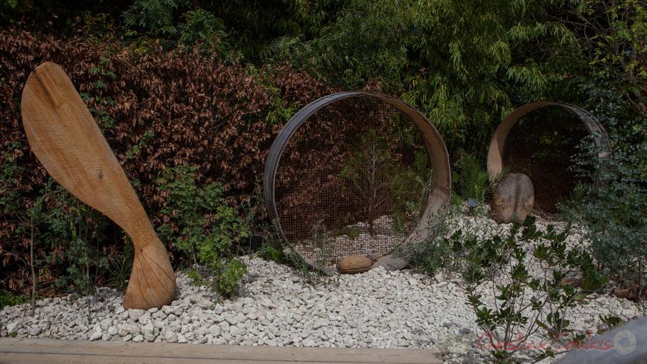 Jardin des Jardins Botaniques de France; Services Espaces Verts Environnement de Nantes et les Jardins botaniques d'Angers, Brest, Caen, La Gacilly, Monaco, Nantes, Tours; Sculptures de graines, Didier Rousseau-Navarre; France. © Christian Coulais