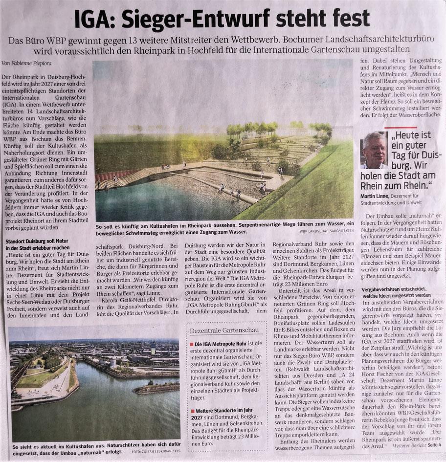 Pressebericht WAZ vom 24.04.2021. 1. Preisträger nach Beschluß der Jury  ist das Landschaftsarchitektbüro WBP aus Bochum