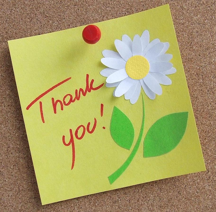 biglietto di ringraziamento con fiore