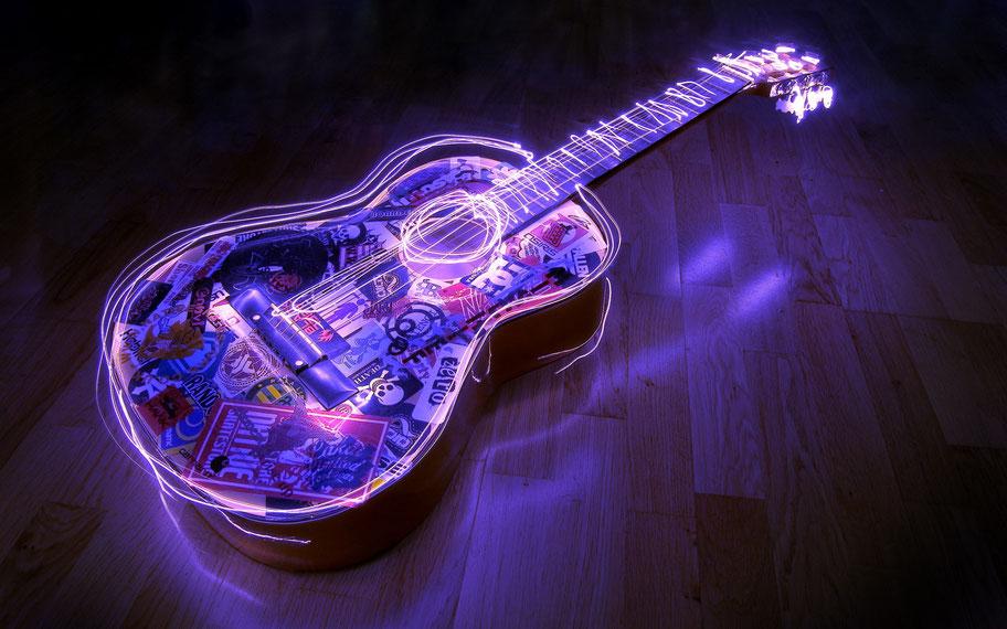 chitarra classica disegnata di luce