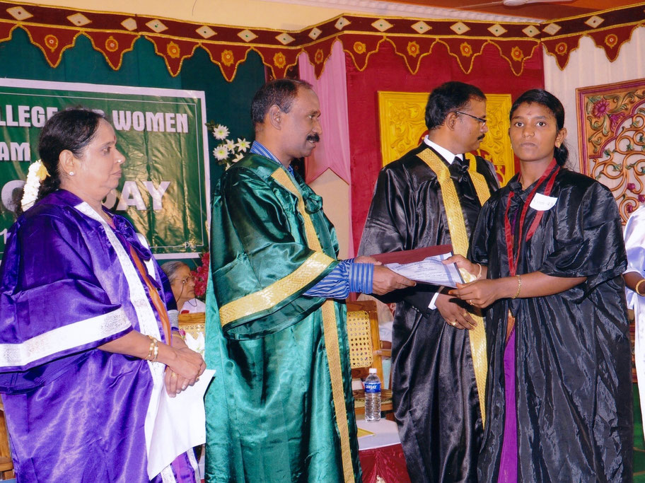 Sasikala receiving her M.Com Degree from the 'Parashakthi College for Women' in Courtallam