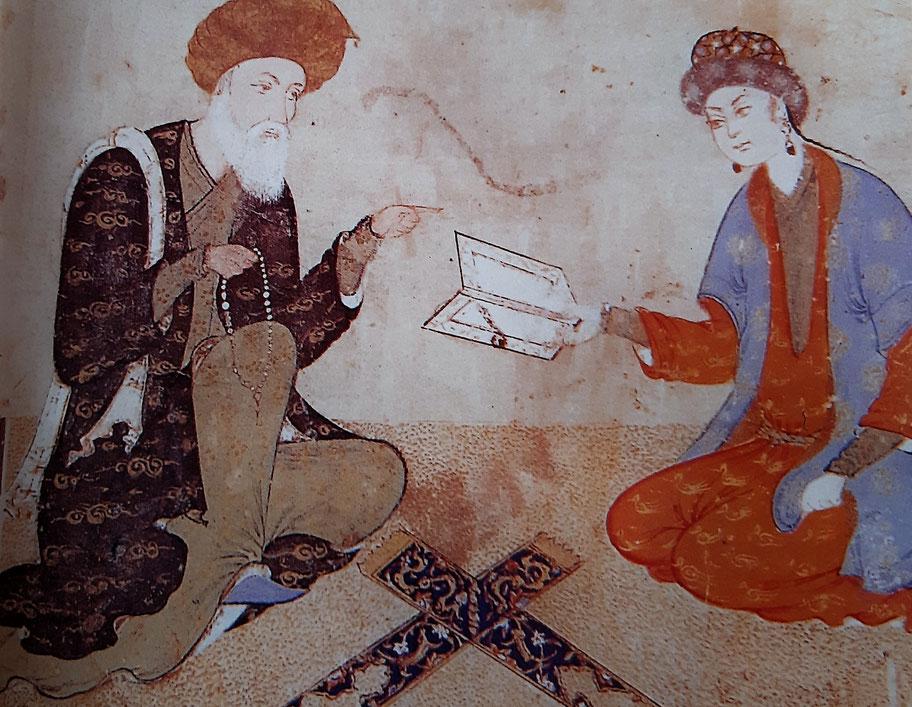 Maestro e discepolo - Miniatura, Persia 1560 (dal libro Kahlil Gibran e il suo tempo)