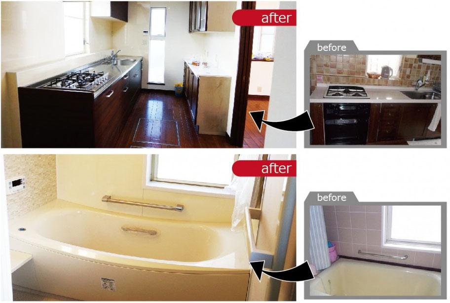 キッチンとお風呂の交換で機能性が向上しました