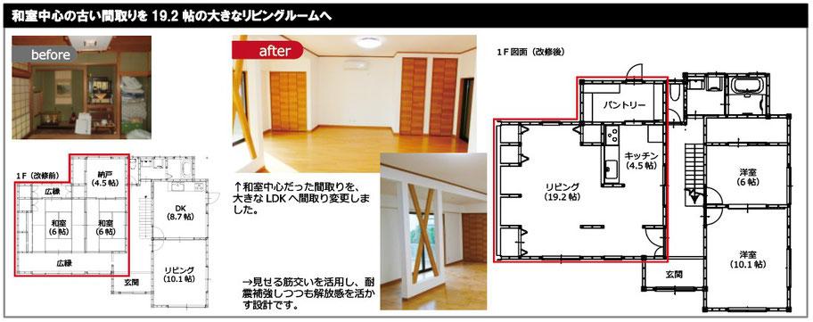 和室中心の部屋構成で壁量不足だった建物を耐震改修工事で徹底補強