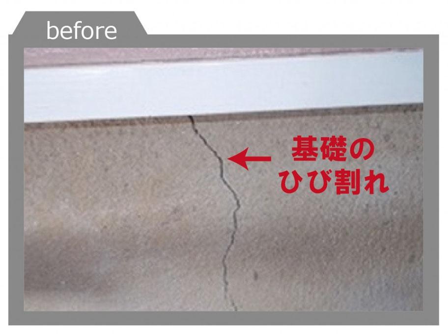 基礎部のひび割れ 劣化を助長し、建物の耐久性能を落としてしまいます